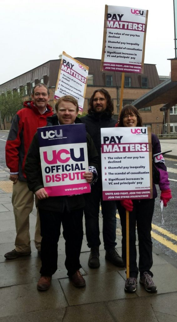 A damp day but not damp spirits at Durham picket on Thursday 26th May